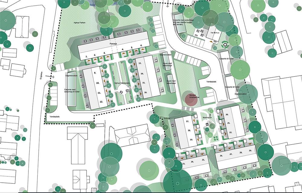 Kort over Agtrup Gårds nye seniorboliger med grønne arealer