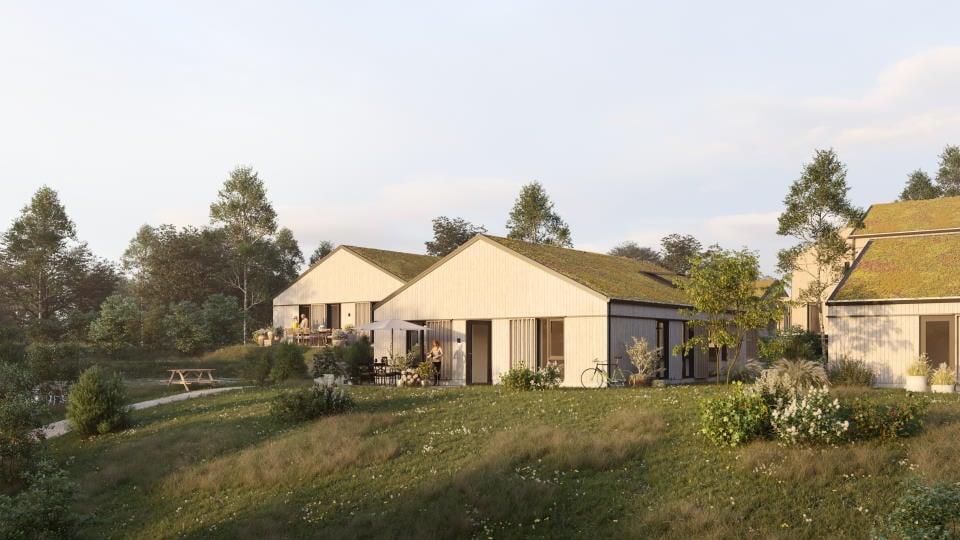 Det kommende bofællesskab får 58 boliger, der opføres som fritliggende villaer og dobbelthuse
