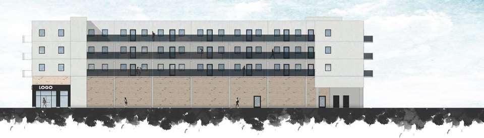 Facade øst af de nye boliger i Esbjerg
