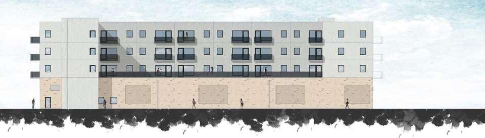 Indeniør'ne A/S har slået stregerne til de nye boliger - Facade vest