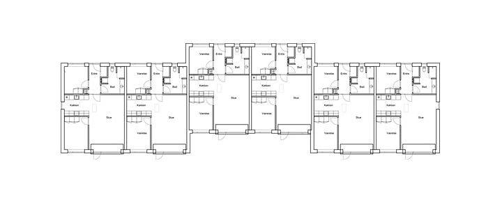 Lejlighederne bliver 3-værelses på 85 m², hvor køkken og stue er i åben forbindelse med hinanden med udgang til terrasse