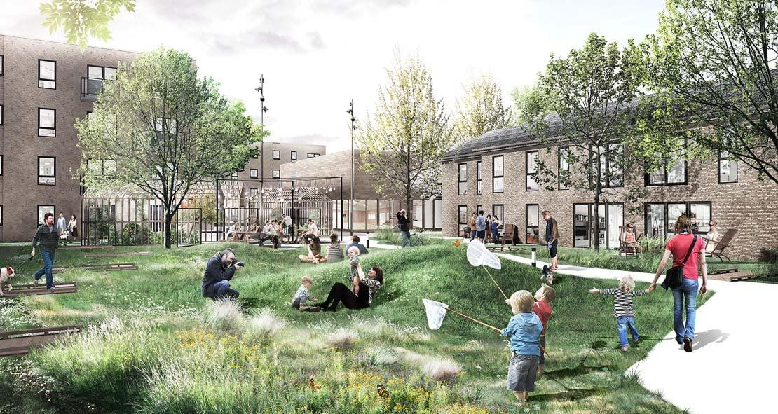 Boligerne vil have store fællesfaciliteter i naturskønne omgivelser