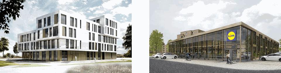 Kontorhuset er på 5.300 m² og butikken er i ét plan på 1.200 m²