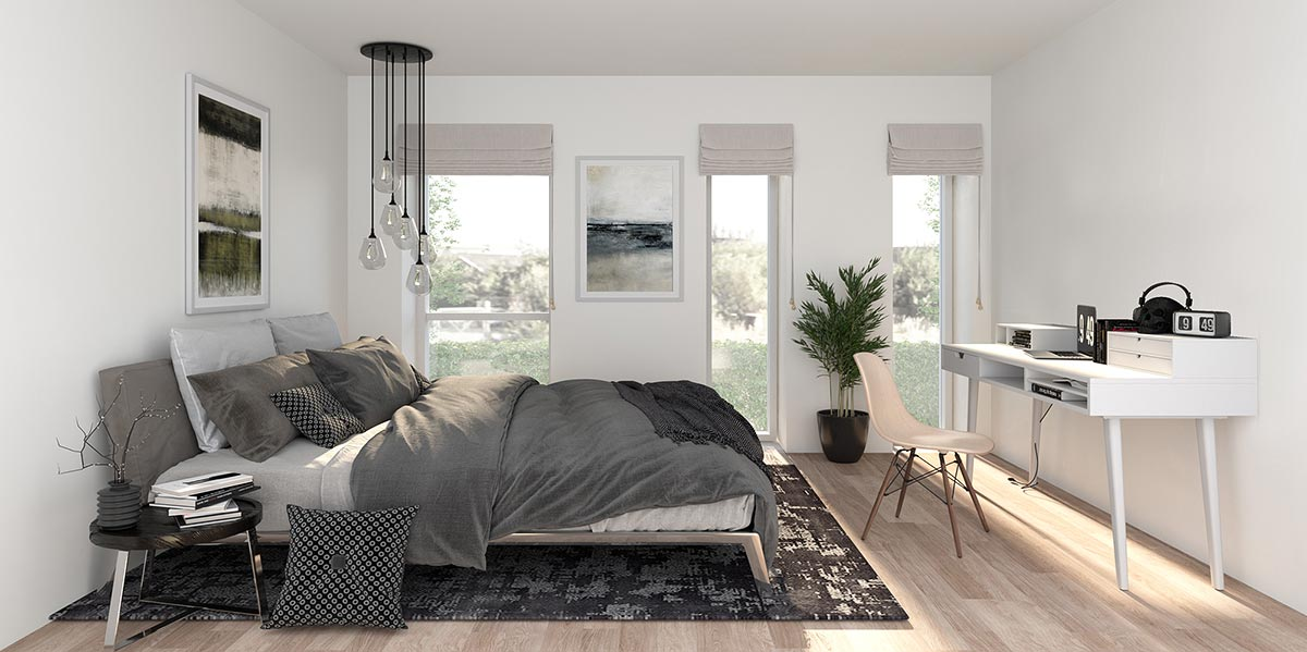 Der opføres 5 typer lejligheder med henholdsvis 2 og 3 væresler