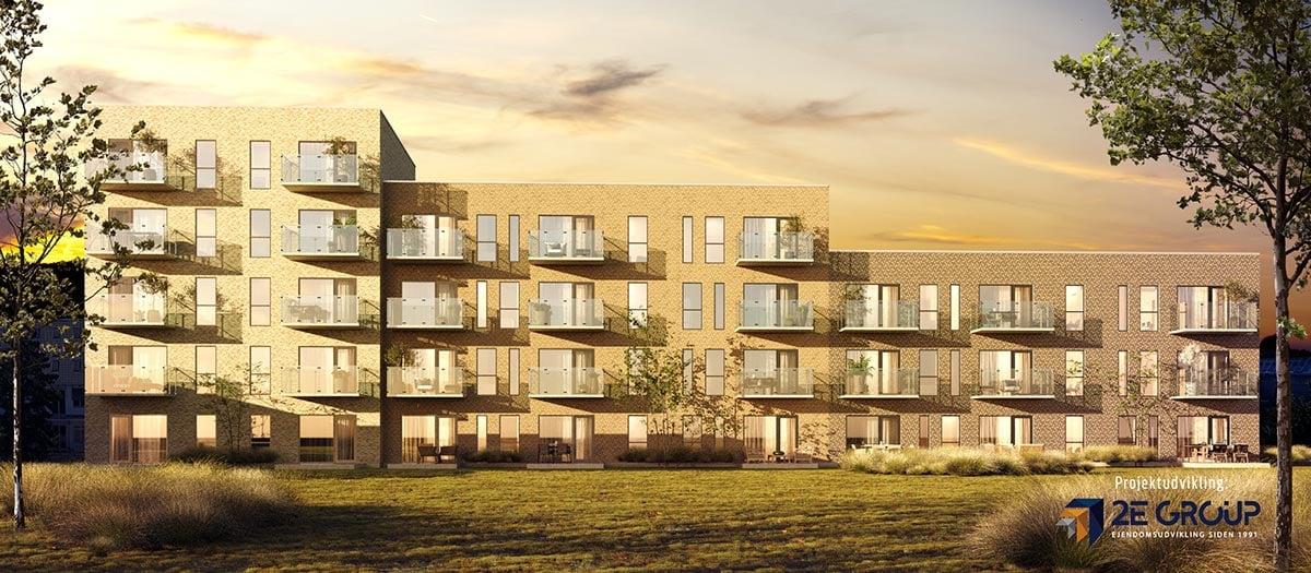 Kirkebjerg Oase omfatter 68 lejligheder i 3-5 etager