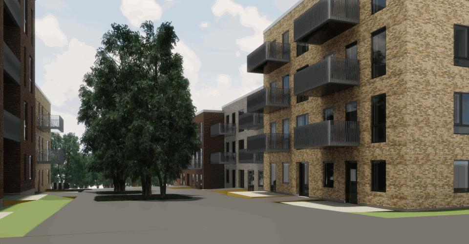 Allébyen vil bestå af 106 nye boliger
