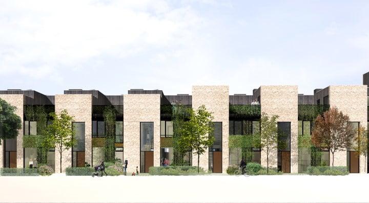 Nyt byggeri kombinerer højt og lavt i samme boligkarré